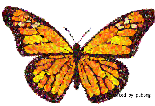 Butterfly, Monarch Butterfly, Low Poly transparent png image under public domain license